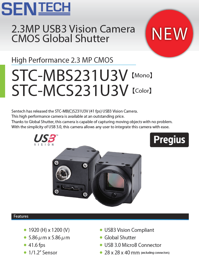 Sentech USB3 Vision Camera Global Shutter data sheet