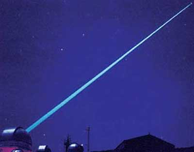 A laser guide star in operation at Starfire Optical Range.