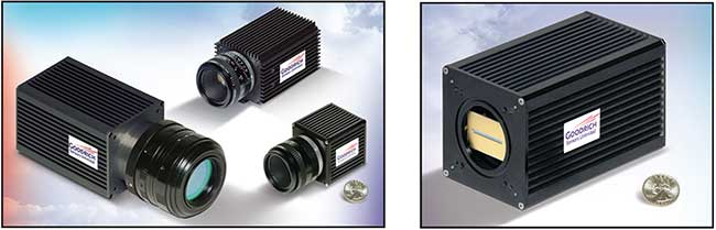 Commercial SWIR imaging cameras come in various camera sizes for 320 × 256 and 640 × 512 pixel image sensor formats (left). On the right is a commercial SWIR digital line-scan camera with a 1024-element linear array that features square 25-µm pixels.