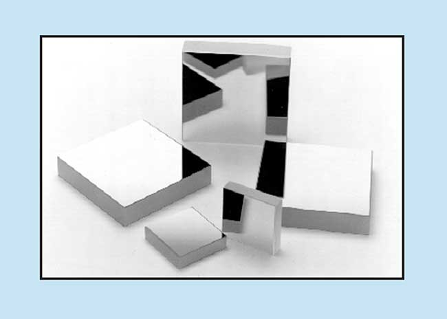MAXBRIte (Multilayer All dielectric Xerophilous Broadband Reflecting Interface) coated square flat mirrors provide a minimum reflectance of 98 percent over a broad spectrum.