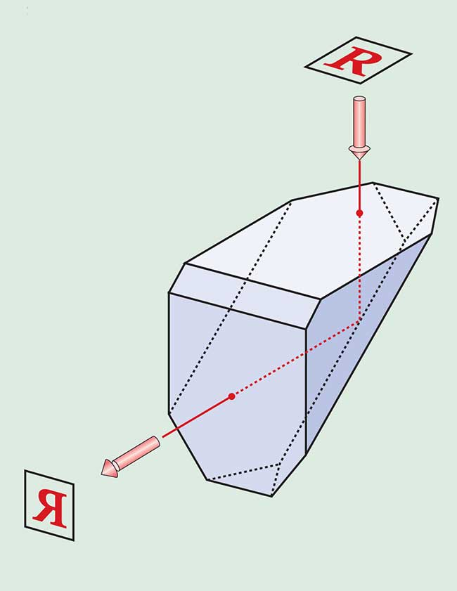 The roof, or Amici, prism is a right-angle prism whose hypotenuse has been replaced with a right-angle roof.