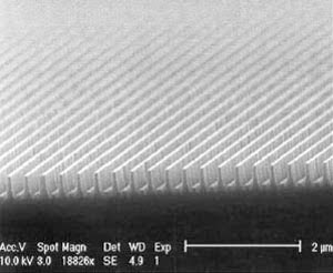 SEM photo of the cross section of a nano-optic grating structure.