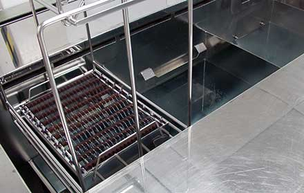 Ultrasonic cleaning is an automated multistep aqueous process for the cleaning of substrates prior to coating.