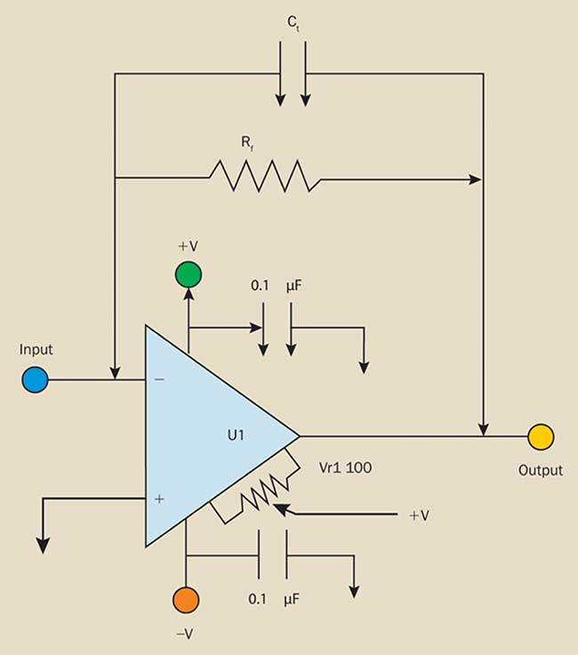 A transimpedance amplifier converts detector output current into a voltage.