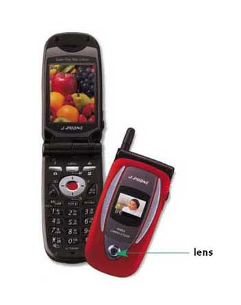 Mobile phone handset with built-in digital camera.
