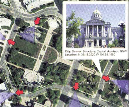 Picture of landmark integrated with map. Courtesy of Ricoh.