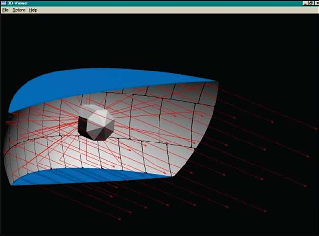 Ray trace of an automotive headlamp design.