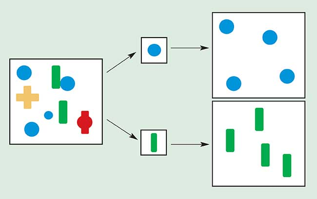 "A morphology ""opening"" operation acts as a shape filter, whose behavior is controlled by a probe."