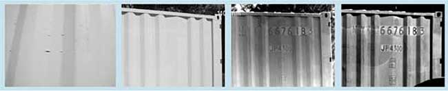 These four images show how infrared spectral selection can help users see through materials that are generally opaque to visible light, such as paint or thin paper.