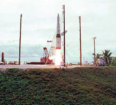 A rocket carrying a prototype missile interceptor launches from Meck Island.
