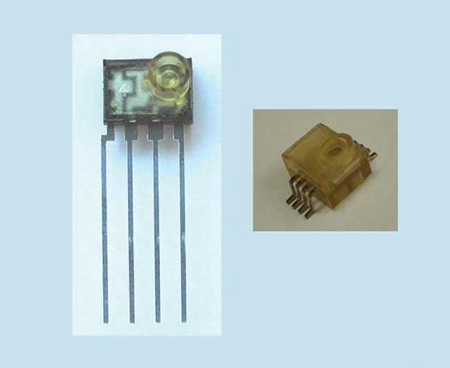 Lead-frame packages for bitcom applications: through hole (left) and surface mount (right).