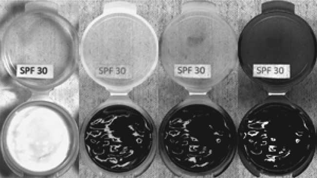 Four images of a plastic sample container with SPF30 sun block in it.