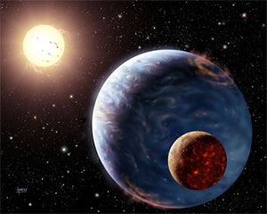 Artist's impression of an exoplanet far away from our solar system, bathed in the light of its parent star and circled by a young moon.