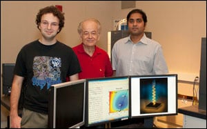 From left, Mikhail Kats, Federico Capasso and Shriram Ramanathan used unusual materials and interference effects to create a perfect absorber.