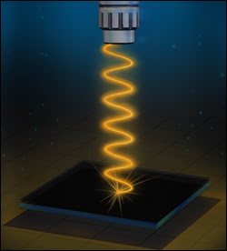 Artist's rendition of the experimental setup used to measure the reflectivity of the vanadium-sapphire device.