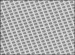This electron microscope image shows the gold mesh created by Chou and colleagues.
