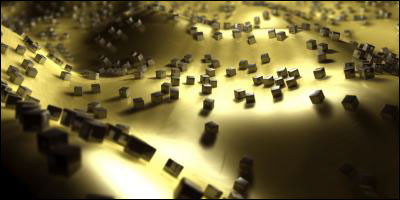 "Metallic nanocubes, developed at Duke University, provide a simple way to create a material that ""perfectly"" absorbs light of a given wavelength when sprinkled at random on a polymer-coated gold surface."