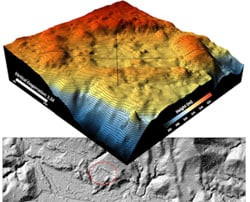 A 3-D surface map showing geometrical 'rectangular' elevated features along the perimeter of the depressed rectangular shape seems to indicate unnatural rather than natural features.