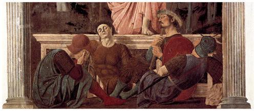 'The Resurrection' by Piero della Francesca, circa 1460 (detail): color photography.