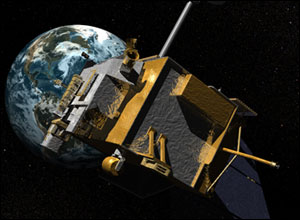 Artist's concept of the Lunar Reconnaissance Orbiter with an image of Earth in the background.