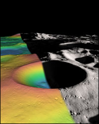 The structure of the Shackleton crater's interior, shown in false color, was constructed from over 5 million elevation measurements from the Lunar Orbiter Laser Altimeter.