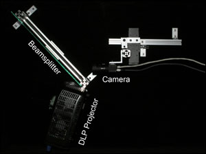 Components of the prototype collocated imaging and illumination system.
