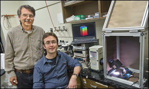 Alex Zettl (left) and Will Regan can make low-cost, high-efficiency solar cells from virtually any semiconductor material.