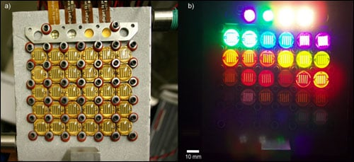 Sections of the new NIST measurement system's LED plate are shown.
