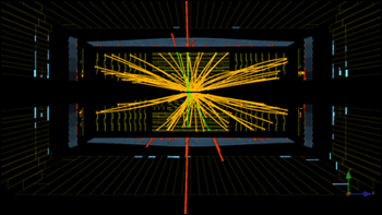 Real CMS proton-proton collision events at the Large Hadron Collider in which four high-energy electrons (red towers) are observed.