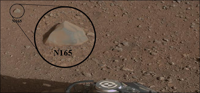 This mosaic image with a close-up inset, taken prior to the test, shows the rock chosen as the first target for NASA's Curiosity rover to zap with its Chemistry and Camera (ChemCam) instrument.