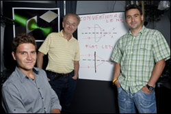 From left, Francesco Aieta, Federico Capasso and Patrice Genevet.
