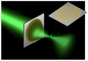 An artist's rendition of a new ultrathin, flat lens focuses light without imparting the optical distortions of conventional lenses.