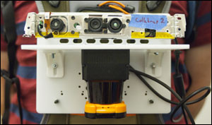 The prototype sensor included a stripped-down Microsoft Kinect camera (top) and a laser rangefinder (bottom), which looks something like a camera lens seen side-on.