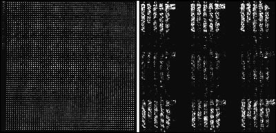 The emission plane (left) and image plane (right) patterns out of a 4096-element nanophotonic phased array designed by MIT associate professor Michael Watts and graduate student Jie Sun to project the university's logo in the image plane.