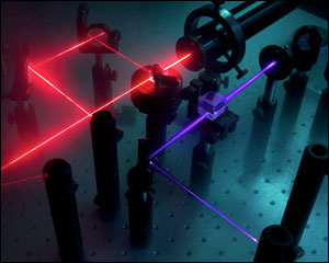 The logo of the Quantum Technology Lab spelled out with the laser beams used in the BosonSampling device.