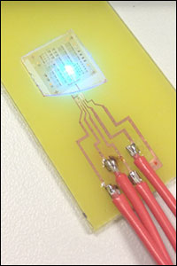 "A GaN LED, coated with a ""factory roof"" pattern modeled on the fireflies' scales."