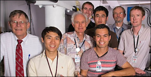 Many of the SLAC and Stanford researchers who helped create the accelerator on a chip are pictured in SLAC's NLCTA lab, where the experiments took place. Left to right: Robert Byer, Ken Soong, Dieter Walz, Ken Leedle, Ziran Wu, Edgar Peralta, Jim Spencer and Joel England.