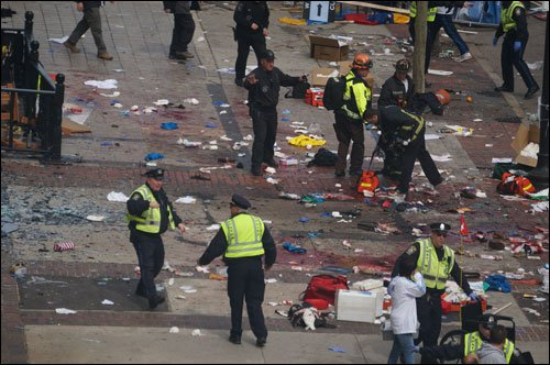 This Wikipedia photo by hahatango shows the aftermath of the bombing in Boston.