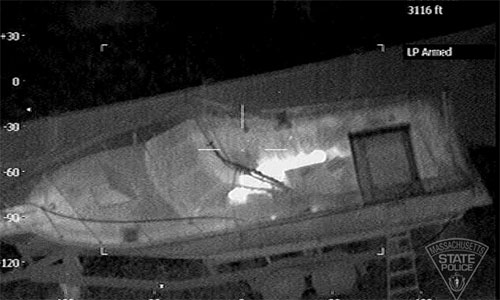 A forward-looking infrared camera (FLIR) on a Massachusetts State Police helicopter helped to find traces of Boston Marathon bombing suspect Dzhokhar Tsarnaev's heat signature as he lay in tarp-covered boat.