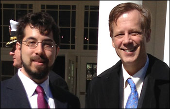 MIT's Ed Boyden (left) and Robert Desimone at the White House on April 2.