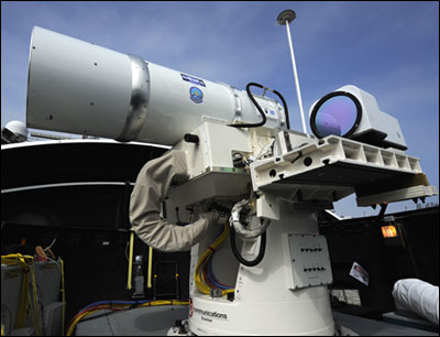 The Laser Weapon System (LaWS) installed aboard the guided-missile destroyer USS Dewey (DDG 105) in San Diego is a technology demonstrator built from commercial fiber solid-state lasers strung together and controlled and directed onto targets by an MK 15 Phalanx Close-In Weapon System. Part of the Office of Naval Research's (ONR) Solid-State Laser Technology Maturation (SSL-TM) effort, LaWS is an affordable prototype for Navy ships to help sailors defeat small boat threats and aerial targets without using bullets.