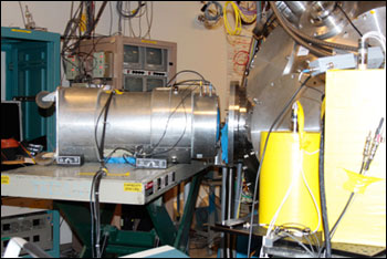 An experimental apparatus used by scientists to prove that laser-driven neutrons can be used to stop nuclear smugglers.