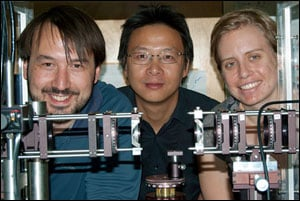 Researchers at Los Alamos National Laboratory have developed a metamaterial design that could replace bulky optics, improving IR thermal cameras, energy harvesting, and security screening and radar systems. Members of the metamaterials team include (from left): Nathaniel K. Grady, Hou-Tong Chen and Jane E. Heyes.
