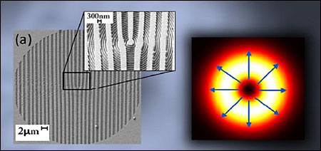 Left: holographic component fabricated by ion milling with a focused ion beam a 150-nm-thick gold film deposited on a glass substrate. A laser beam is partially transformed into a radially polarized beam as it traverses the device. The wide grooves create the donut-shaped intensity profile, known as a vortex, while the subwavelength nanometer grooves in the inset determine locally the radial polarization, which is perpendicular to the grooves. Right: The computed characteristic beam cross-section; the blue arrows indicate the radial polarization.