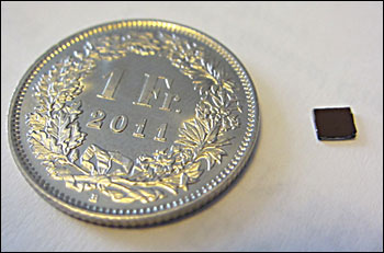 The size of the new sensor compared to a coin.