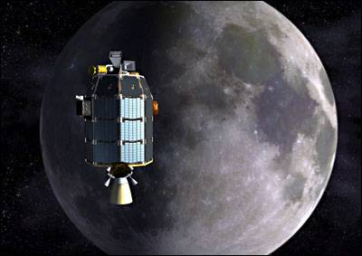 Artist's depiction of NASA's Lunar Atmosphere and Dust Environment Explorer (LADEE) observatory as it approaches lunar orbit.