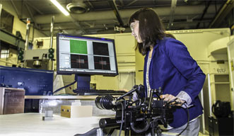 Dr. Amanda Wu images a 3-D-printed part using digital image correlation.