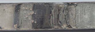 Dark sapropel layers in a core sample from the Mediterranean Sea floor.