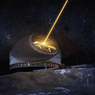 Thirty Meter Telescope at night Mauna Kea laser-guide-star system illuminated
