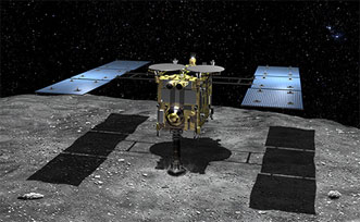 Asteroid Explorer Hayabusa2 above asteroid 1999 JU3.